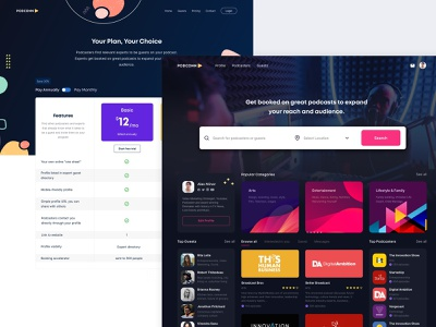 Podcast Connect filter search social network marketplace design application webapp ui dark podcast