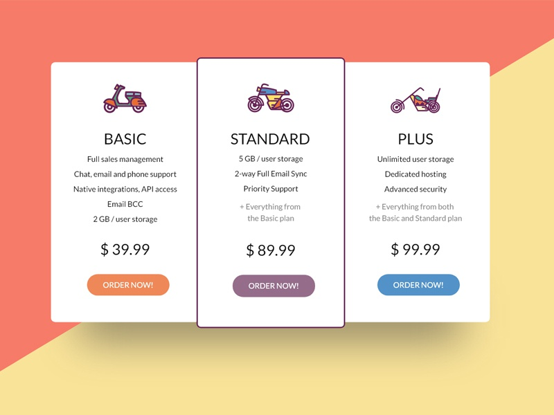Pricing Table – Freebie Adobe XD