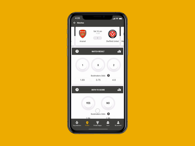 Bookbreakrs Make prediction coefficient keyboard match result soccer bet prediction app yellow score football sport prediction dinarys ux ui interaction app design animation mobile app interface animate