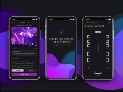 ClubCity - Lounge booking process mobile design mobile app app design mobile gold dark theme user interface user experience interface mobile screens ui trend nightlife night club lounge design dinarys ux ui clubcity