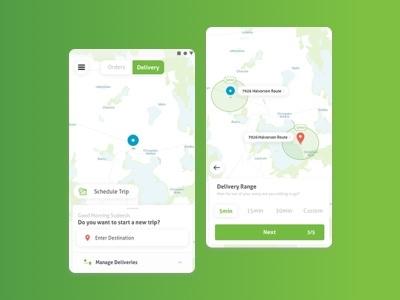 Parcel Delivery App delivery service green logistics app map ui