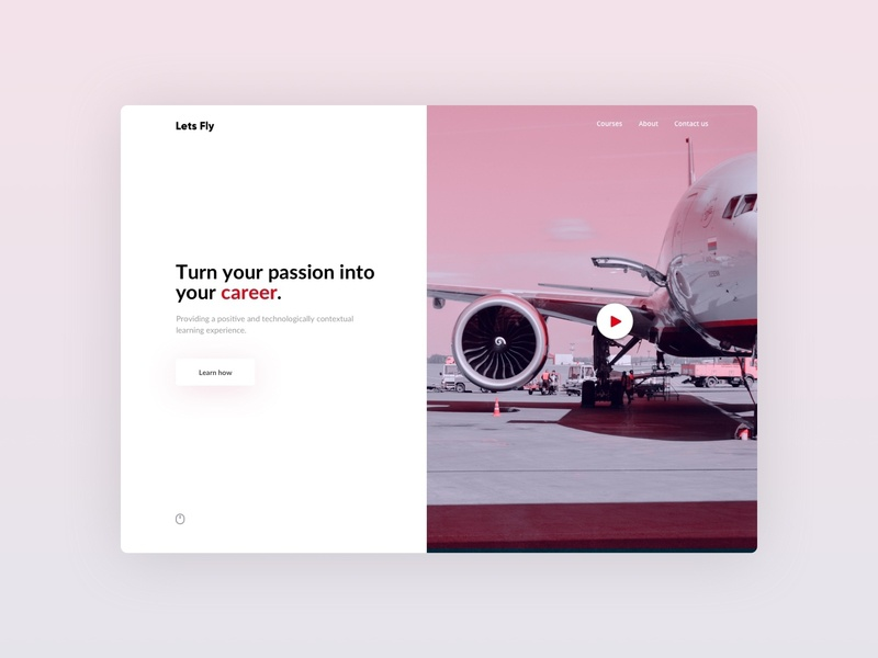 Career Training Landing Page concept red aviation cabin crew home page landing page