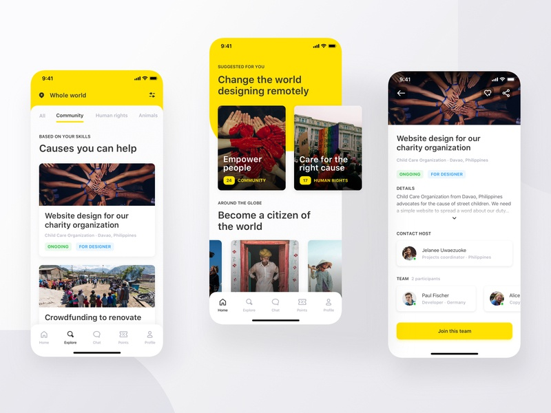 Volontuber App designers remote work charity causes charity yellow clean visual uiux mobile uiux prototype product design mobile ui mobile minimal iphone x ios application
