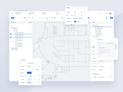 Modern PSIM Redesign – The Editor ui uxui ux settings data tree map building psim security product designer dashboard web app product design