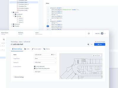 Modern PSIM Redesign security webapps uxui uiux ui settings psim product design map data tree dashboard building