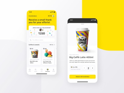 Volontuber App – Handshakes app design ui design charity mobile redeem points yellow product design design ux ui