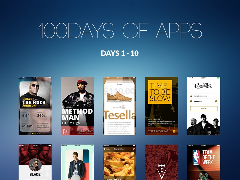 100Days of Apps 100 days app ui ux design