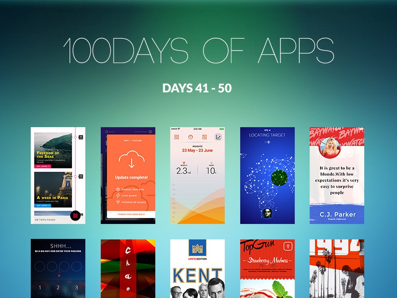 100Days of Apps - part V 100 design ux ui app days
