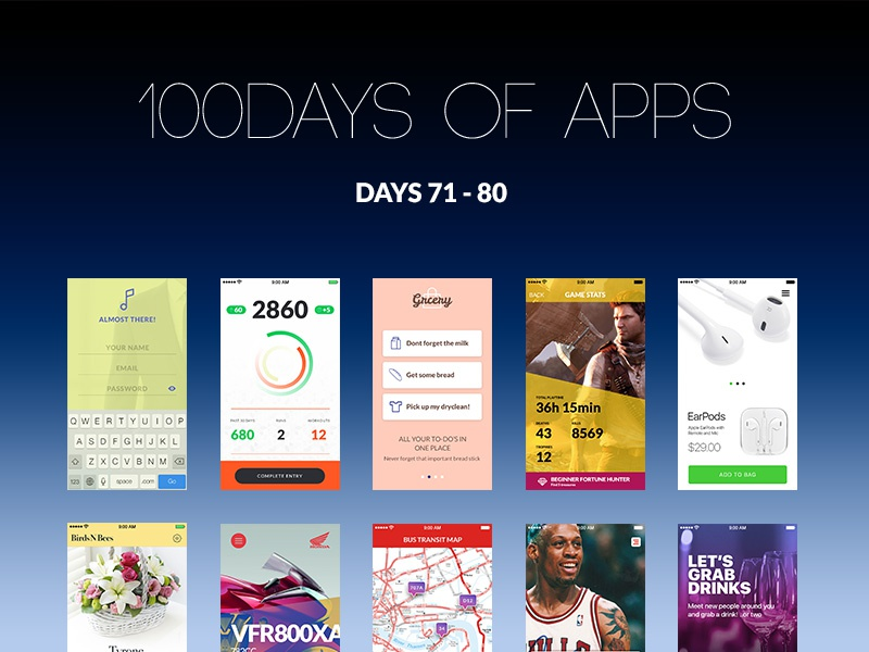 100Days of Apps - part VIII 100 design ux ui app days