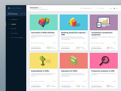 Fundfinder Tenders Page webapp ui design ux ui
