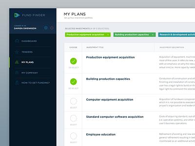 Fundfinder investments page webapp ui design ux ui