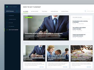 Fundfinder Knowledgebase blog webapp ui design ux ui