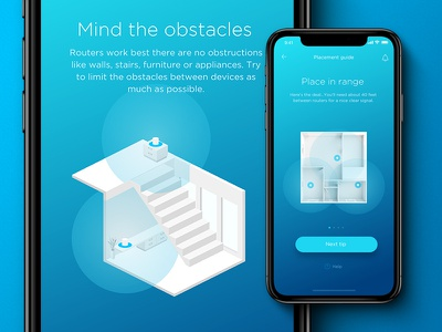 Router Manager Mobile App - Placement guide router network onboarding ui onboarding screen onboarding user interface blue ui design app ux iphone