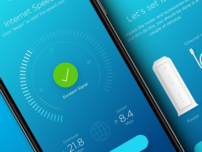 Router Manager Mobile App 3 app ui user interface ui design ux blue iphone