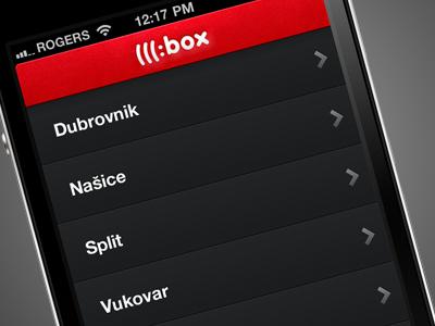 Box App app iphone dark red slider