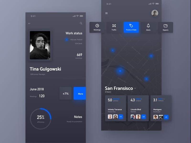 travel app interface ux ui travel blue dark map app