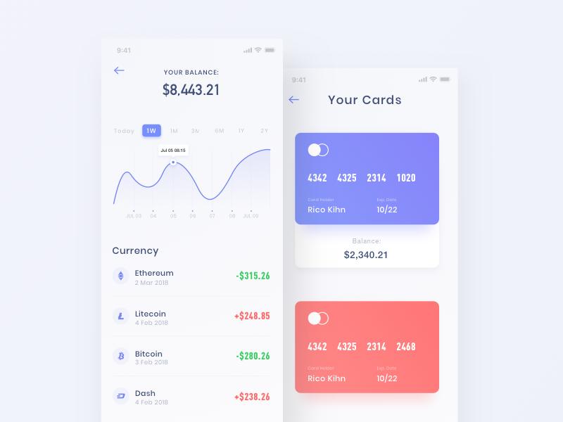Digital currency UI design data bitcoin clean app interface ui