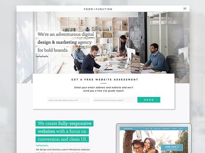 Form + Function Site Rebranding website web ux user ui homepage gradient experience design clean debut