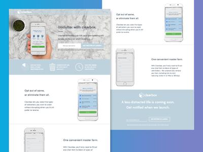 ClearBox Landing Page website web ux user ui homepage gradient experience design clean