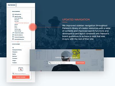 Patreon Creator Guide Navigation sidebar navigation cards web design ux ui