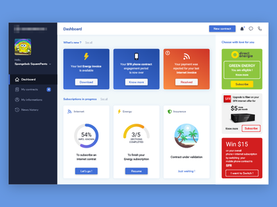 Personal Contract Manager cards web contract manager ux ui dashboard