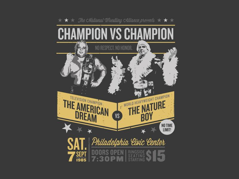 c020cf3523a Ric Flair v Dusty Rhodes T-Shirt Design dusty rhodes nature boy t-shirt. A t -shirt design for Shibe Vintage Sports ...