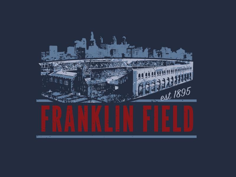 Franklin Field T-Shirt Design franklin field shirt design logo stadium upenn penn philadelphia philly football sports apparel t-shirt