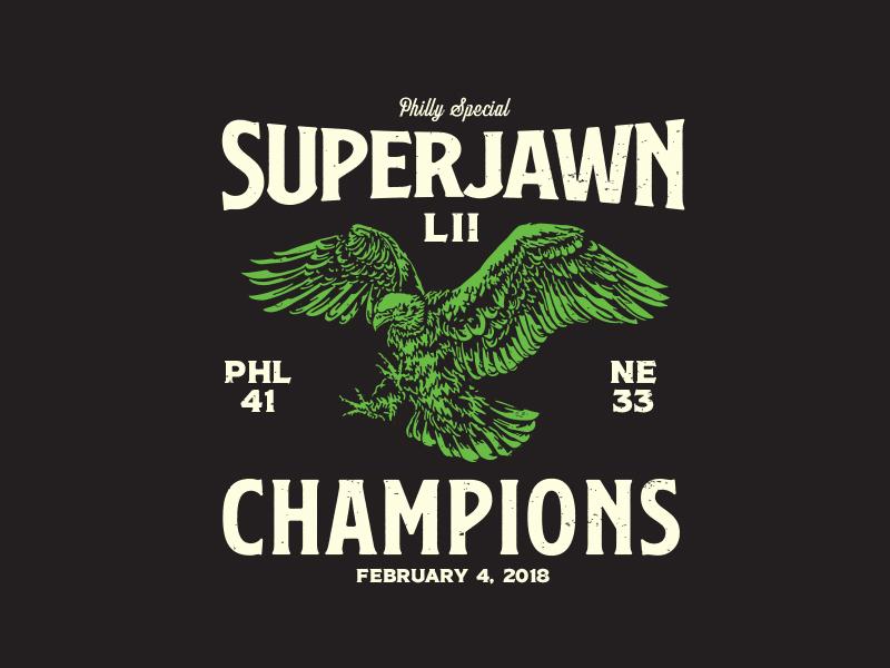 176fa4d642b Superjawn LII Champions eagles superbowl football eagle sports logo t-shirt  design philly philadelphia