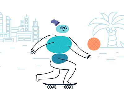 Pebble People - Skating skateboard skate pebbles blush branding character design doodle icon cartoon vector design illustration