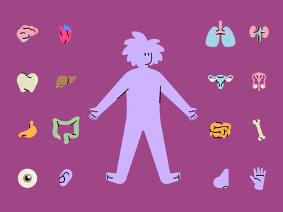 Lifesavers - Anatomy scene biology body parts blush character design stickers body organs anatomy pack character doodle illustration
