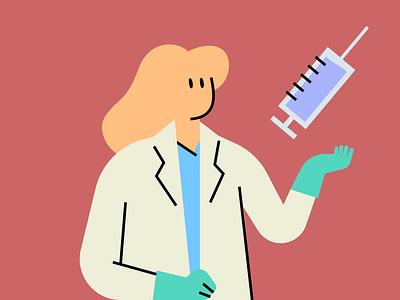 Lifesavers - Vaccine covid vax doctor hospital shot medicine nurse virus vaccine character design illustration doodle vector flat design
