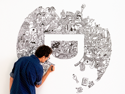 Doodle for Designit drawing mural design cartoon illustration wall art doodle
