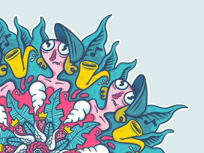 Doodle Mandala kaleidoscope procreateapp ipad pro doodle design flat illustration