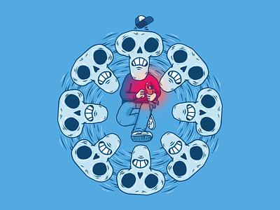 Skull kid playing skull digital illustration tablet ipad procreate doodle cartoon design illustration