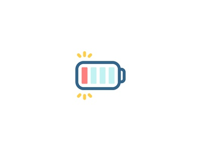 Low Battery recharge icons flat illustration design vector logo icon charge power energy low battery