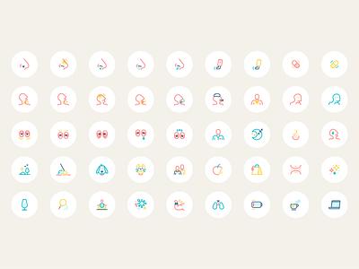 Respiratory Health App - Iconogrphy symptoms iconography health app health icons icon vector flat design illustration