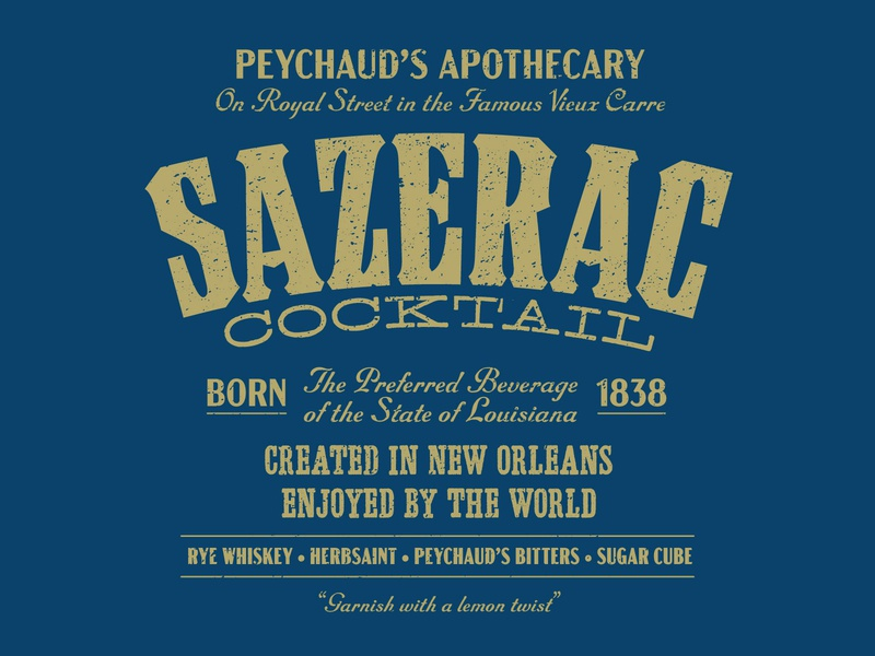 Sazerac louisiana logo design vector texture illustrator