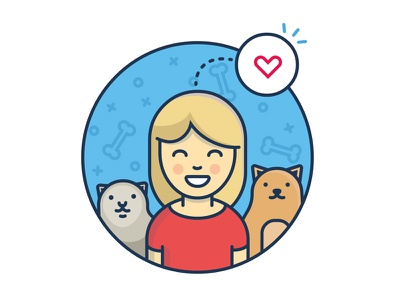 love cats smile girl art vector illustration love cat