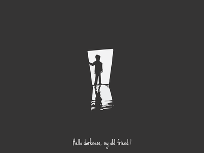 Hello darkness, my old friend black and white illustrator vector illustration design silence of sound