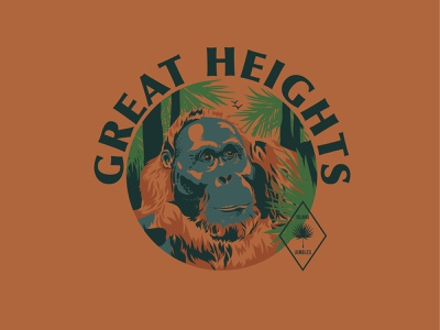 Great Heights orangutan apparel design vector illustration