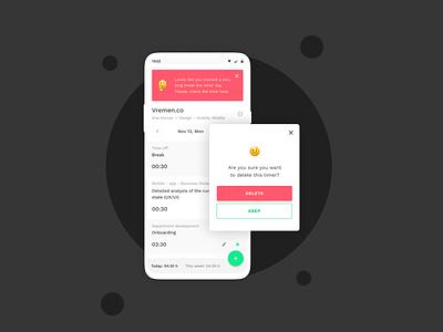 Vremen.co — time tracking app (Series 4) light ui flutter flutter app development ux design clean ui app design time management time tracking time tracking app emoji mobile design mobile app