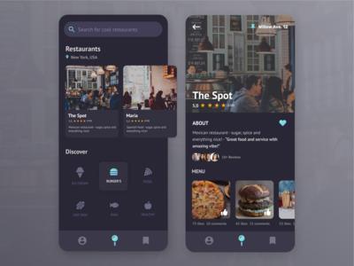 Restaurant App ux ui gradient likes reviews restaurant restaurant app food location location app search mobile app mobile
