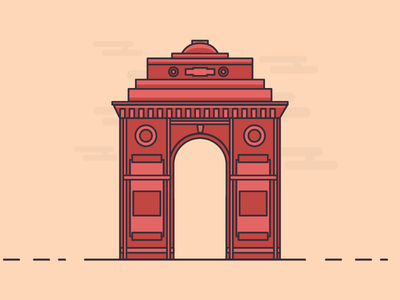 Indiagate days outline animation clouds illustration building minimal flat icons line cute