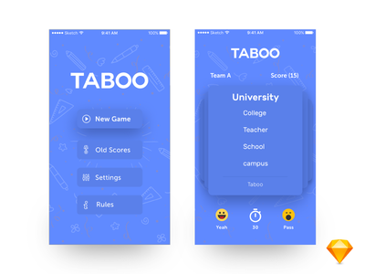 Taboo Redesign ios freebie icons sketch blue typogrpahy game taboo ux ui