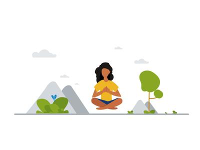 weekly UI #04 Minimal illustration muzli green flat minimal icon ai cloud grass tree yoga illustration