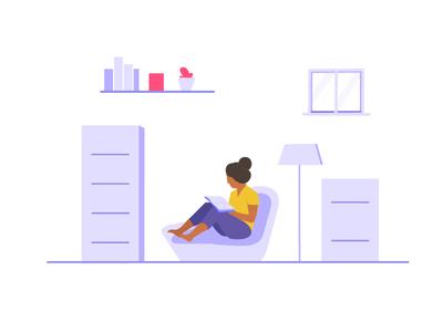 weekly UI #05 Minimal illustration web room flower girl study muzli minimal illustration icon flat ai