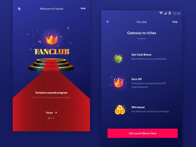 Fanclub rose money king carpet red cricket win xp gift ai branding interaction gif ux typography sketch design minimal illustration ui