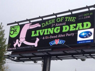 Dash of the Living Dead Billboard zombie 5k electronic billboard