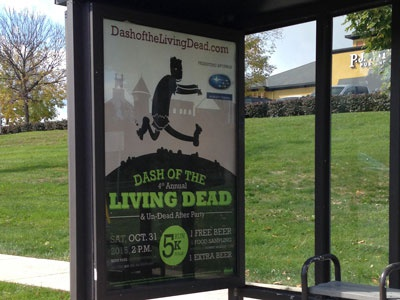 Dash of the Living Dead Bus Stop Shelter Poster zombie 5k poster bus stop shelter