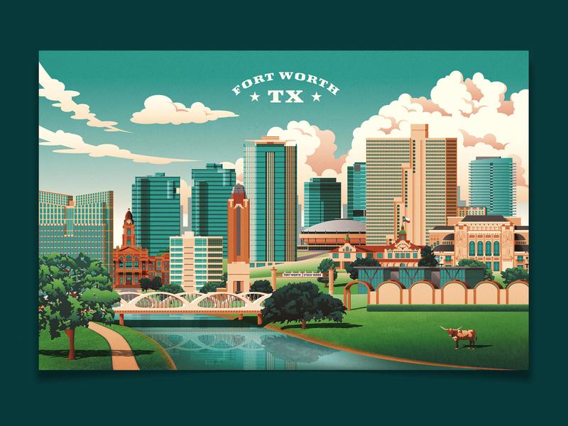 Fort Worth Travel Poster river dfw etsy poster travel history longhorn downtown landscape landmarks skyline clouds texas fort worth design buildings photoshop vector illustrator illustration